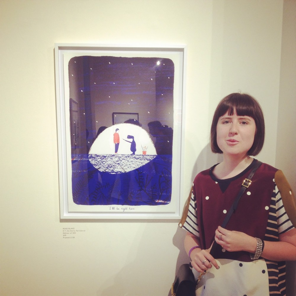 Rose with her E.T. print on display at the West Wing Galleries in Somerset House