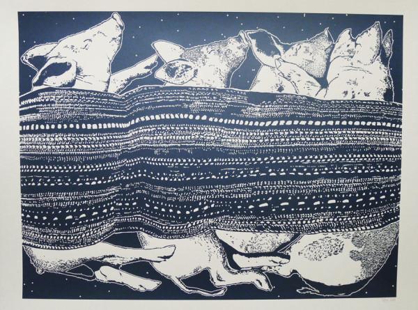 Claudia Borfiga-Pigs In Blankets Midnight Blue