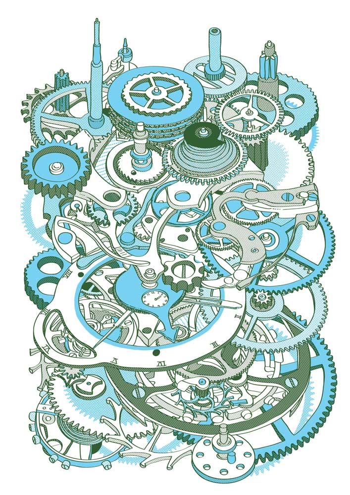 Hugo Yoshikawa -Watch Mechanism (turquoise)
