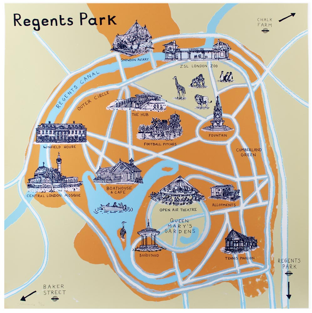 Regents Park Map Print Club London