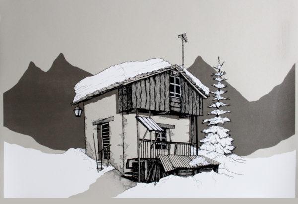 Mountain Cabin Louis Carpenter Print Club London Screen Print