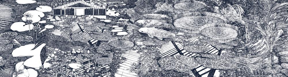 Lucille Clerc Panorama Kew Lily Pond Print Club London Screen Print