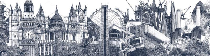 Lucille Clerc Panorama London Landmarks Print Club London Screen Print