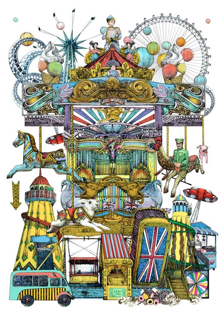 Lucille Clerc Victorian Funfair Print Club London Screen Print