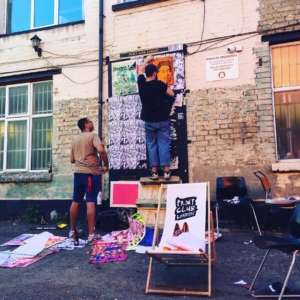 @zombiesqueegee doing some new paste ups at the warehouse #printclublondon #team #poster