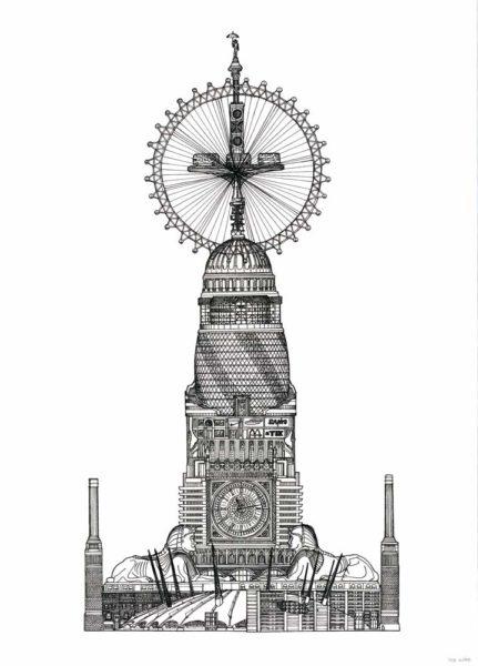 Landmarks London Toby Melville Brown Print Club London Screen Print