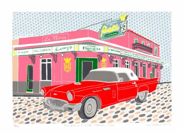 Floridita & T-Bird, Havana, Cuba Liz Whiteman-Smith Print Club London