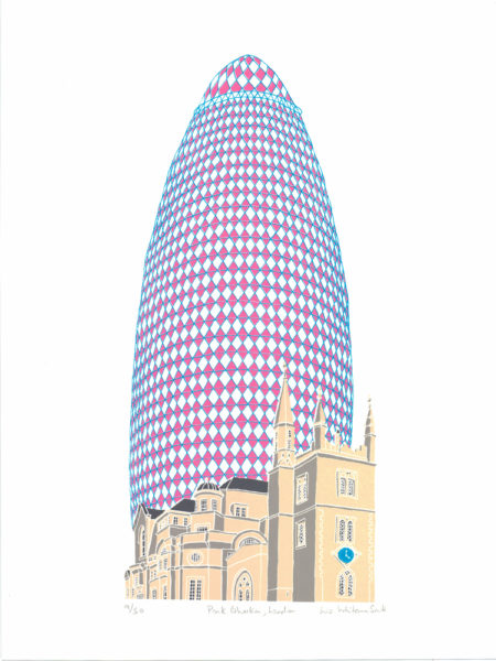 Pink Gherkin Liz Whiteman Smith Print Club London Screen Print