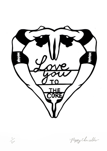 Love you To The Core Poppy's Papercuts Print Club London Screen Print
