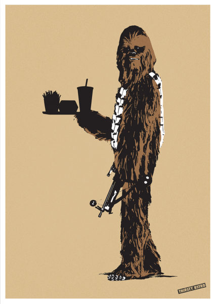 Chewbacca Fast Food Thirsty Bstrd Print Club London Screen Print