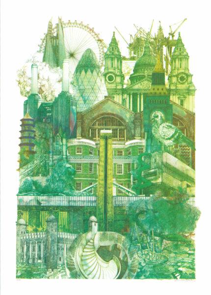 London Landmarks Lucille Clerc Print Club London Screen Print
