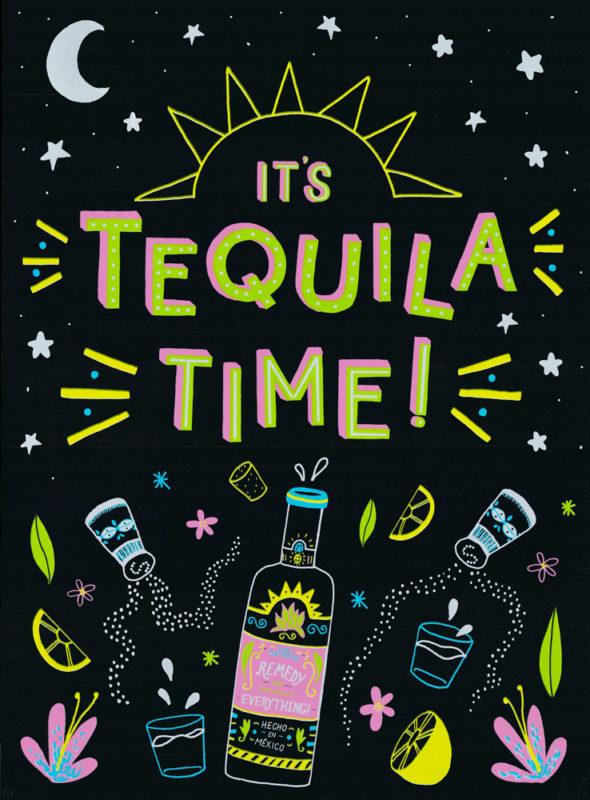 Tequila Time Francesca Tiley Print Club London Screen Print