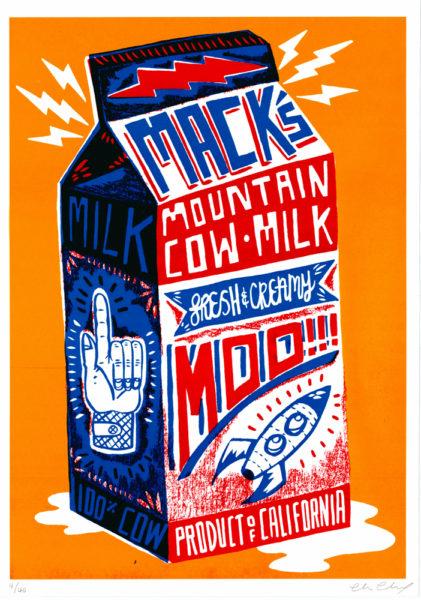 Mack's Mountain Cow Milk Charlie Gould Print Club London Screen Print
