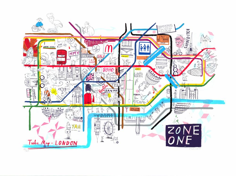Zone 1 Jess Wilson Print Club London Screen Print