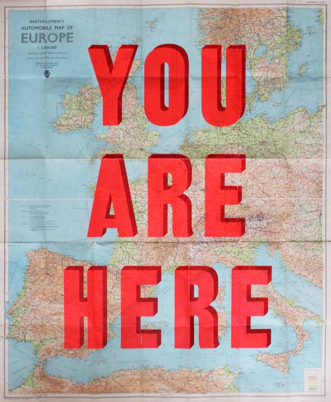 You Are Here Western Europe Dave Buonaguidi Print Club London Screen Print