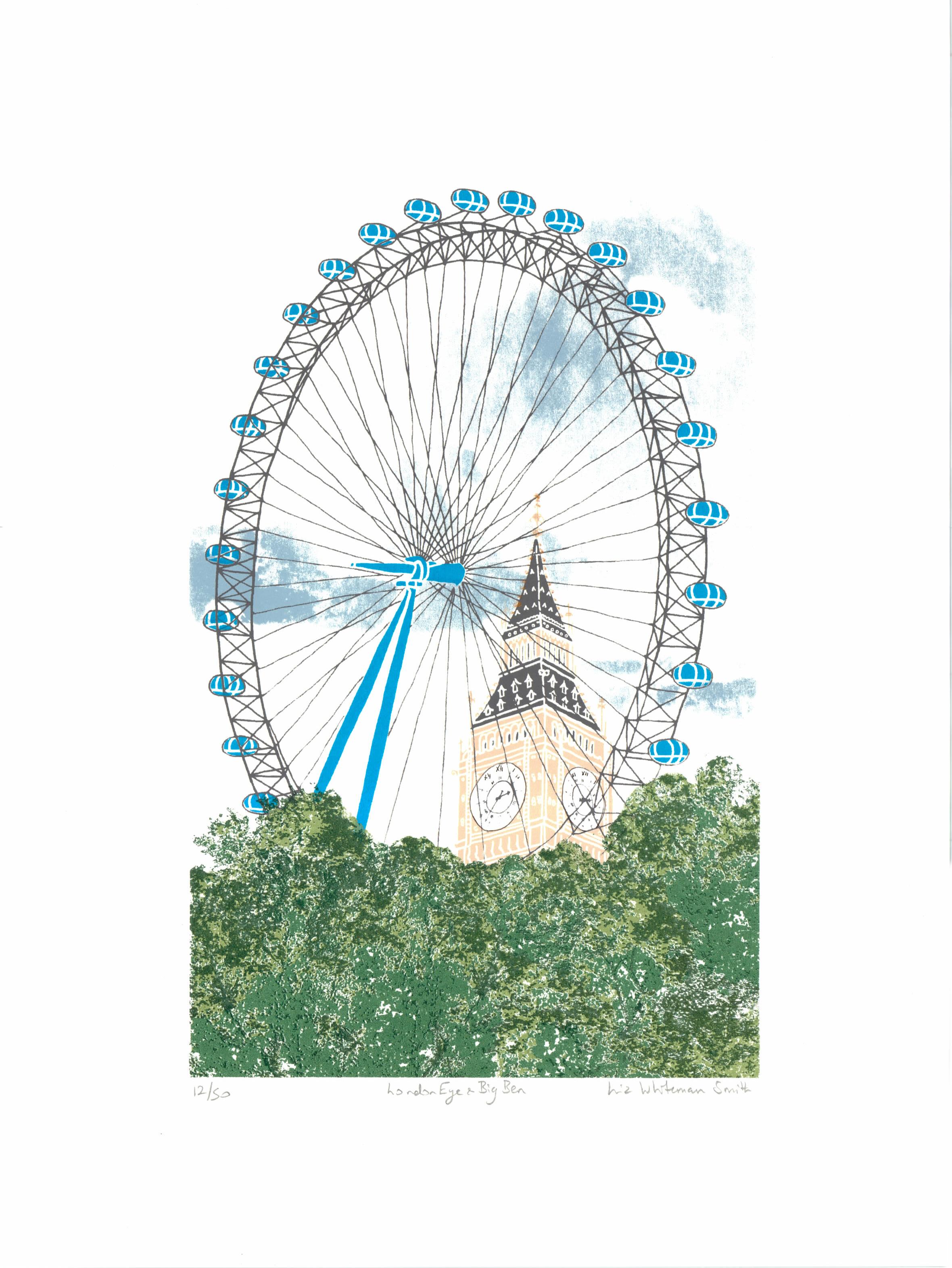 London Eye - Liz Whiteman Smith Print Club London Screenprint