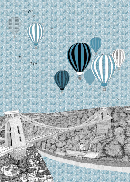 Blue Balloons over Bristol Clare Halifax Print Club London Screen Print
