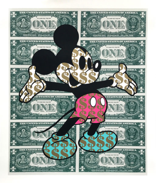 Monster Mickey Pink and Teal Ben Allen Print Club London Screen print