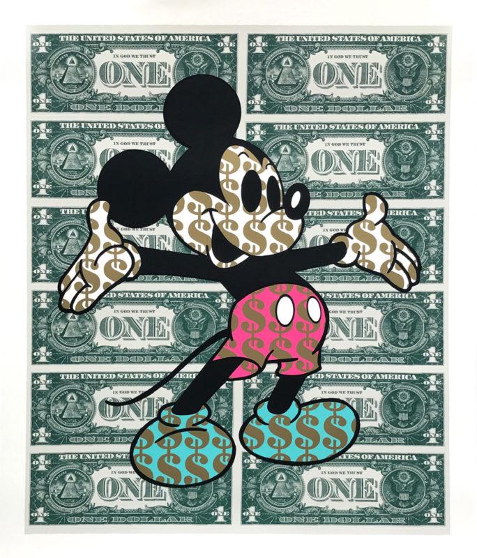 Monster Mickey Pink and Teal Ben Allen Print Club London Screen print