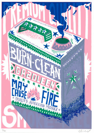 Burn Clean Gazoleen Charlie Gould Print Club London Screen Print