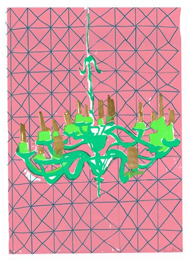 Green Chandelier Rose Electra Harris Print Club London Screen Print