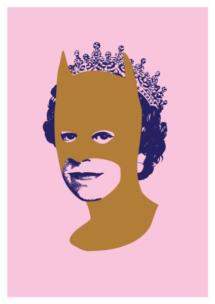 Rich Enough To Be Batman - Gold, Pink and Blue Print Club London Screen Print