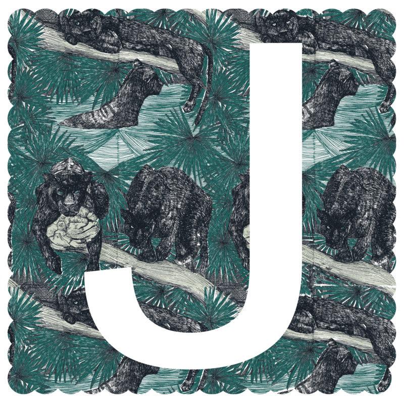 J is for Jaguar Clare Halifax Print Club London Screen Print