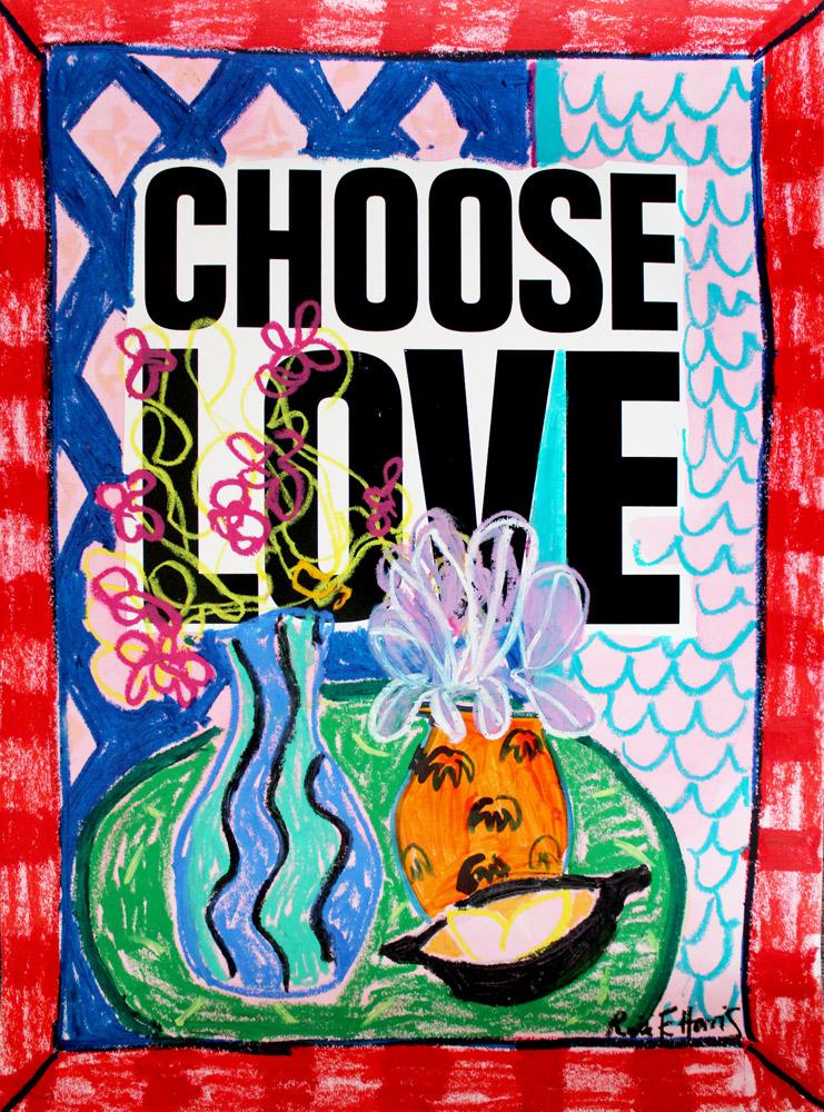 Choose Love Rose Electra Harris Vase Print Club London Help Refugees Screen Print