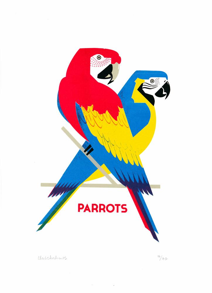Parrots Chris Andrew Print Club London Screen Print