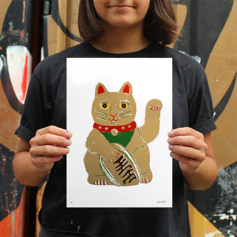 Lucky Cat Aleesha Nandhra Print Club London Screen Print