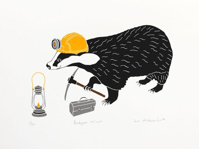 Badger miner Liz Whiteman Smith Print Club London Screen Print