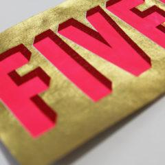 Fiver Gold Leaf Dave Buonaguidi Print Club London Screen Print