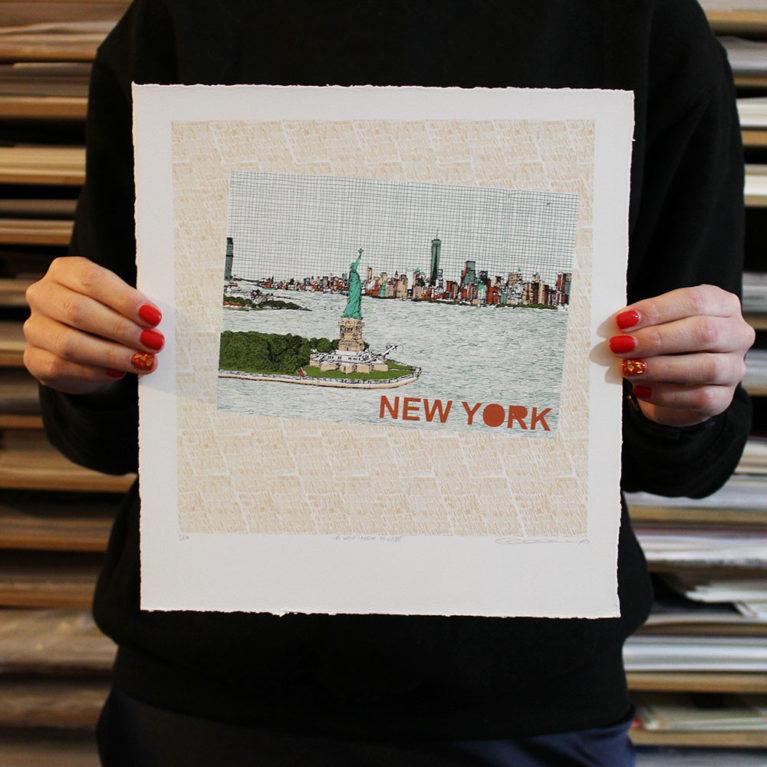 A New York Minute Clare Halifax Print Club London Screen Print
