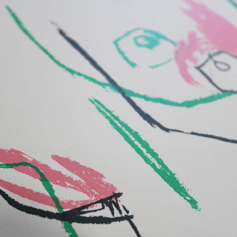 Pink/Green Sideboob Jessica Rose Bird Print Club London Screen Print